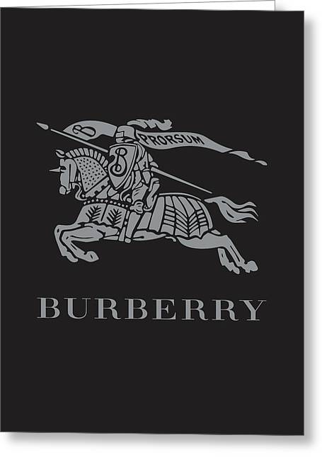 Burberry - Black And Grey Greeting Card