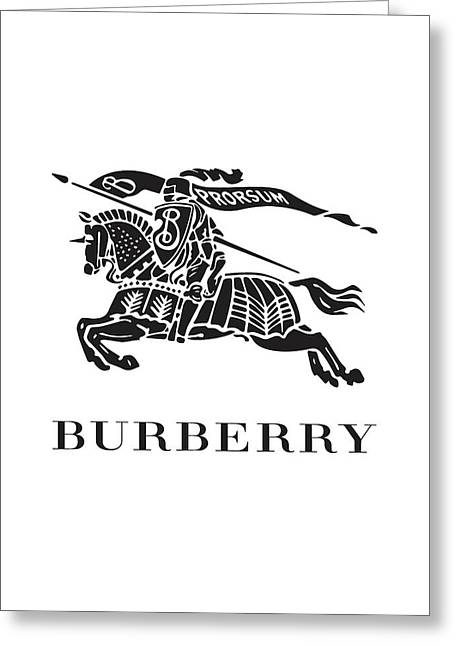 Burberry - Black And White Greeting Card