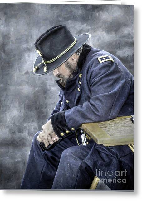 Burden Of War Civil War Union General Greeting Card by Randy Steele