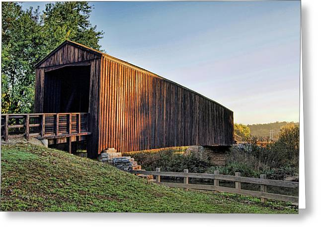 Greeting Card featuring the photograph Burfordville Covered Bridge by Cricket Hackmann