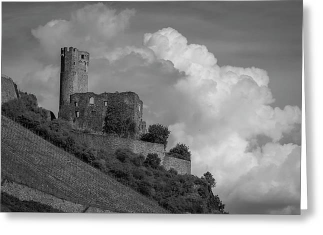 Burg Ehrenfels B W 02 Greeting Card