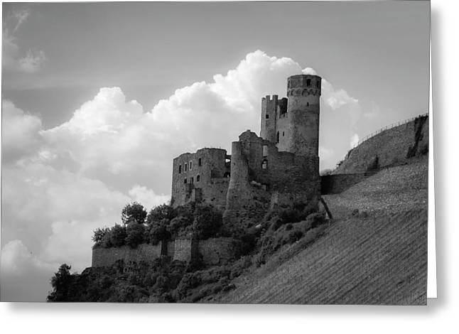 Burg Ehrenfels B W Greeting Card