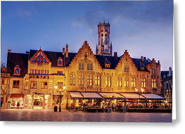 Burg Square Architecture At Night - Bruges Greeting Card