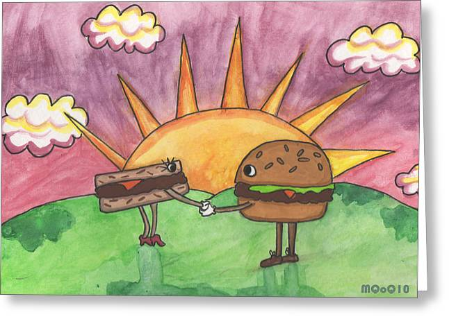 Burger And Patty Greeting Card by Michelley QueenofQueens