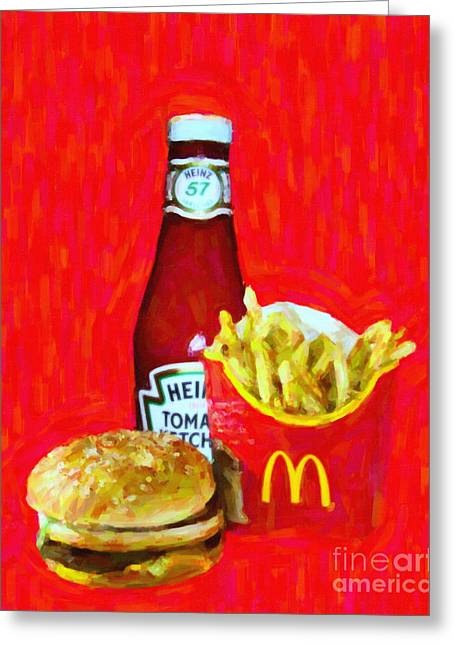 Junk Digital Greeting Cards - Burger Fries And Ketchup Greeting Card by Wingsdomain Art and Photography