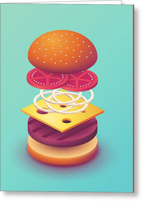 Burger Isometric Deconstructed - Mint Greeting Card by Ivan Krpan