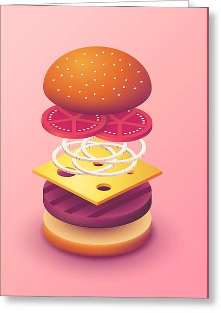 Burger Isometric Deconstructed - Salmon Greeting Card by Ivan Krpan