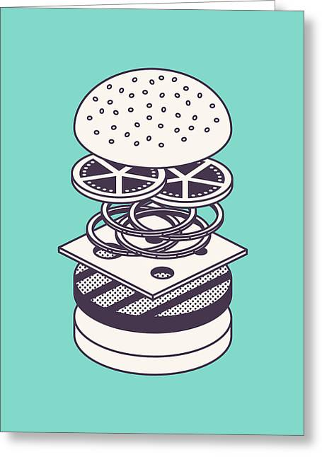 Burger Isometric Lineart Deconstructed - Mint Greeting Card by Ivan Krpan