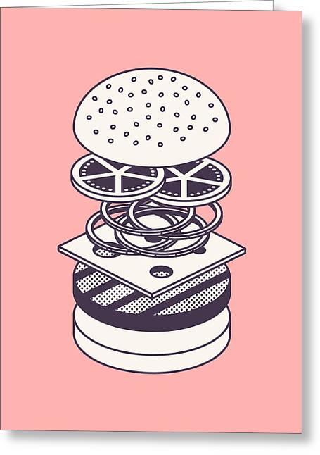 Burger Isometric Lineart Deconstructed - Salmon Greeting Card by Ivan Krpan