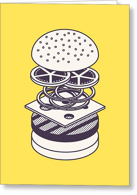 Burger Isometric Lineart Deconstructed - Yellow Greeting Card by Ivan Krpan