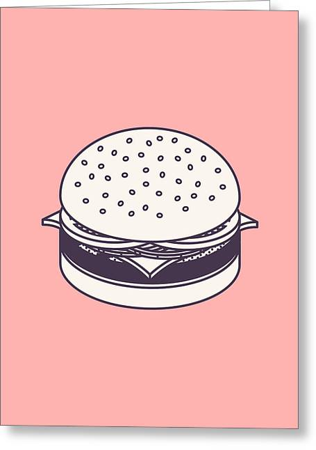 Burger Isometric Lineart - Salmon Greeting Card by Ivan Krpan