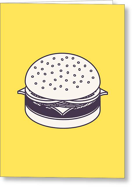 Burger Isometric Lineart - Yellow Greeting Card by Ivan Krpan