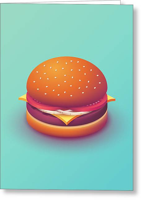 Burger Isometric - Plain Mint Greeting Card by Ivan Krpan