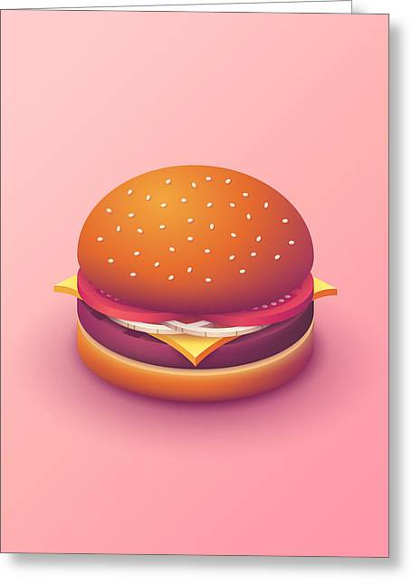 Burger Isometric - Plain Salmon Greeting Card