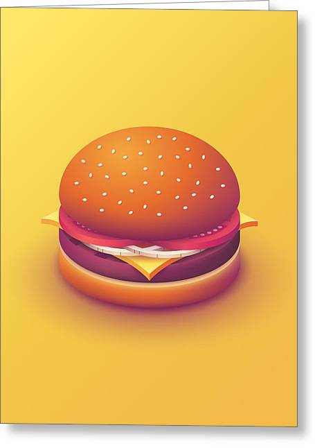Burger Isometric - Plain Yellow Greeting Card