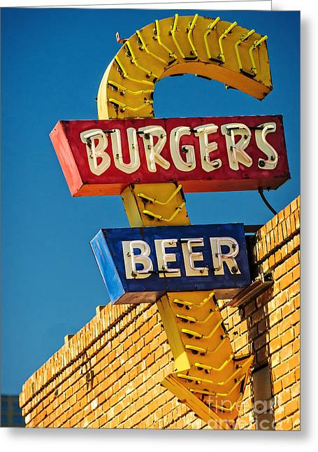 Burgers And Beer Greeting Card by Charles Dobbs