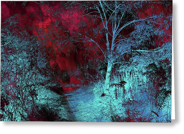 Burgundy Red Moonlight Greeting Card