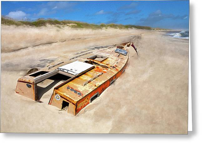 Buried Shipwreck Boat On The Outer Banks Ap Greeting Card by Dan Carmichael
