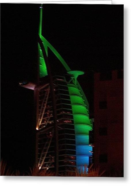Burj Al Arab Dubai Night Greeting Card by Iain MacVinish