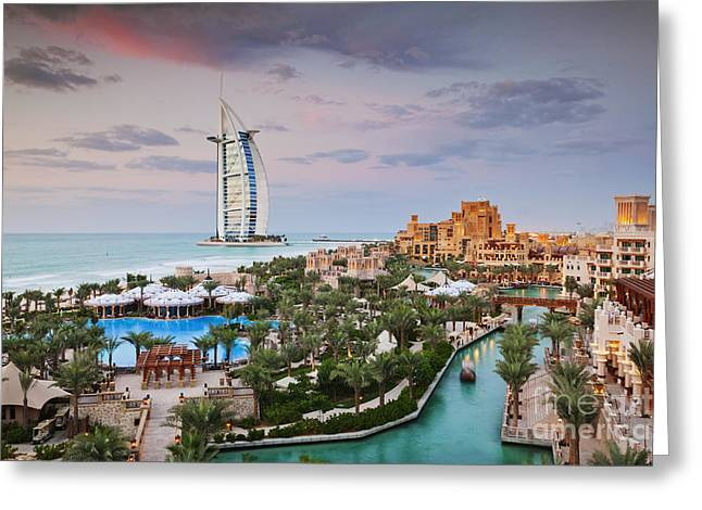 Burj Al Arab Hotel And Madinat Jumeirah Resort Greeting Card by Jeremy Woodhouse