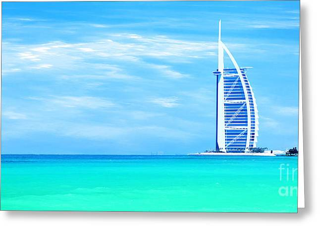 Burj Al Arab Hotel On Jumeirah Beach In Dubai Greeting Card