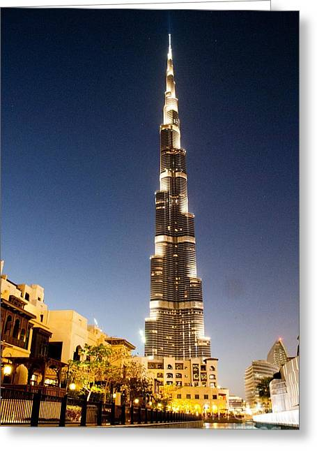 Burj Khalifa At Night Greeting Card by Karen Kean