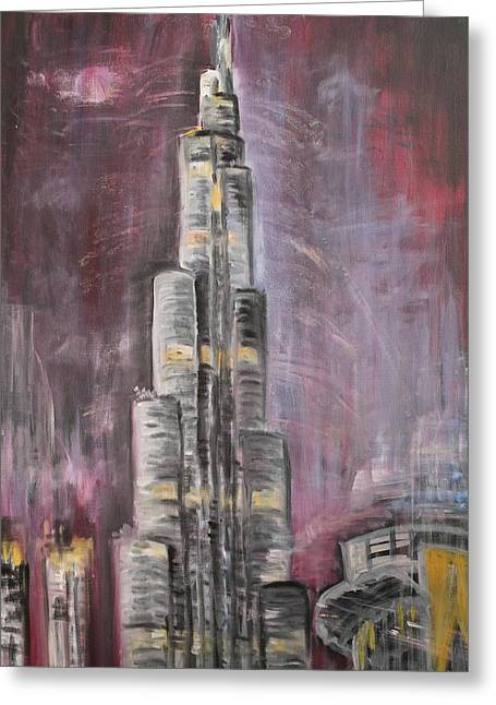 Greeting Card featuring the painting Burj Khalifa by Sladjana Lazarevic