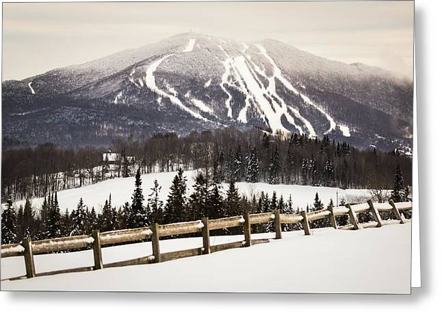 Burke Mountain And Fence Greeting Card