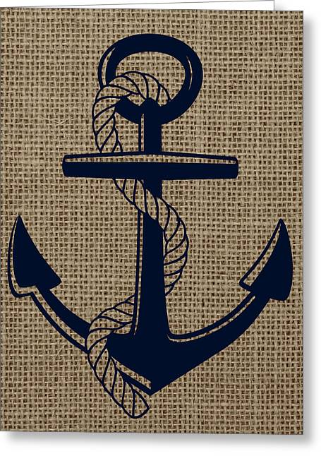 Burlap Anchor Greeting Card by Brandi Fitzgerald