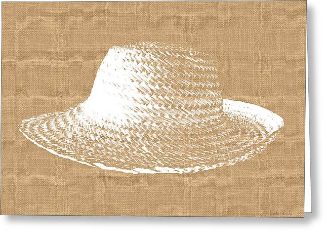 Burlap And White Sun Hat- Art By Linda Woods Greeting Card