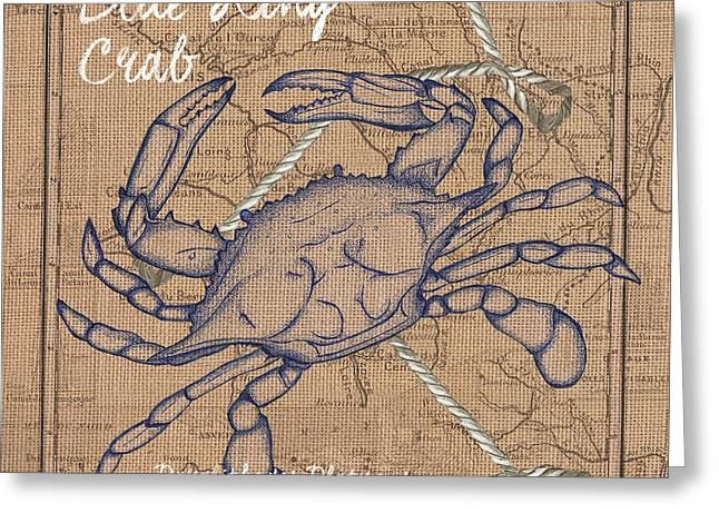 Burlap Blue Crab Greeting Card by Debbie DeWitt