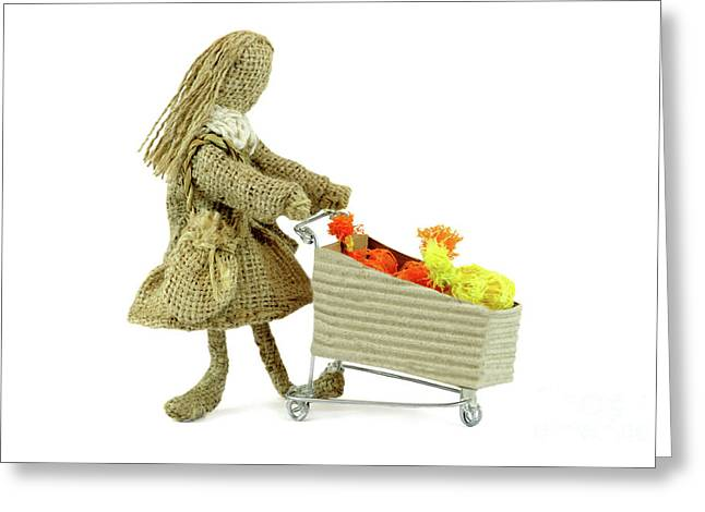 Burlap Doll Woman Walking With Shopping Cart Greeting Card