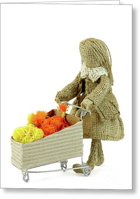 Burlap Doll Woman With Shopping Cart Greeting Card