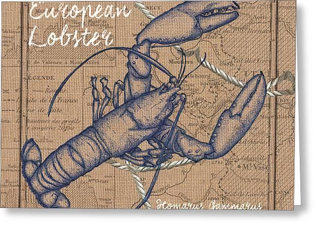 Burlap Lobster Greeting Card
