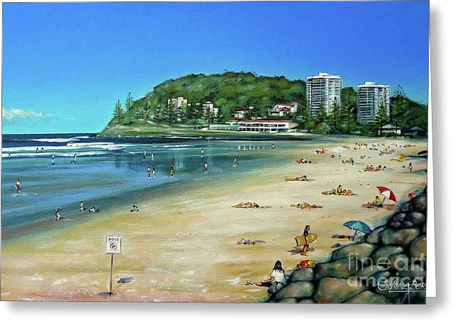 Greeting Card featuring the painting Burleigh Beach 100910 by Selena Boron