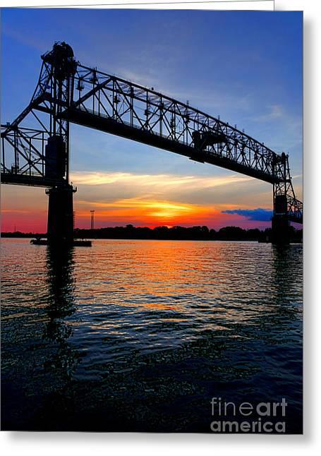 Burlington Bristol Bridge Opening At Dusk Greeting Card