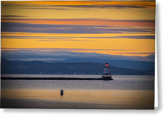 Burlington Lighthouse Sunset Greeting Card