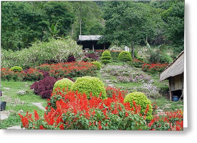 Burma Village Garden Greeting Card by John Johnson