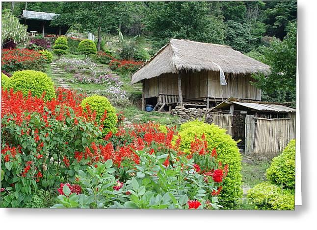 Burma Village Greeting Card by John Johnson