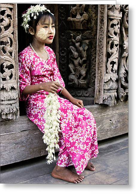 Wood Carving Greeting Cards - Burmese Flower Vendor Greeting Card by Michele Burgess