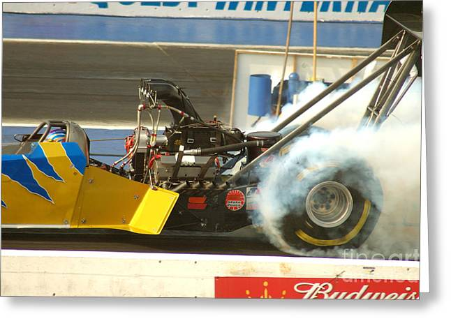 Burn Out On The Track Greeting Card by Micah May