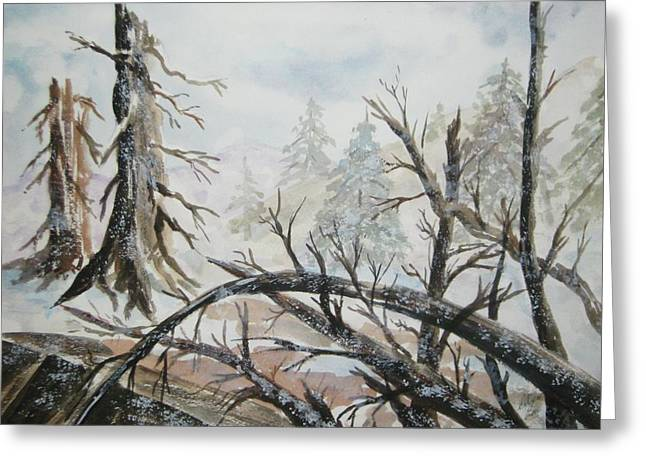 Greeting Card featuring the painting Burned Forest In The Snow by Ellen Levinson