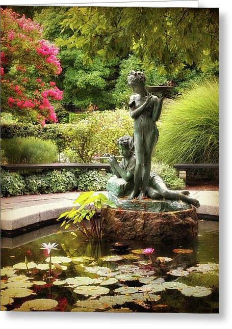 Burnett Fountain Garden Greeting Card