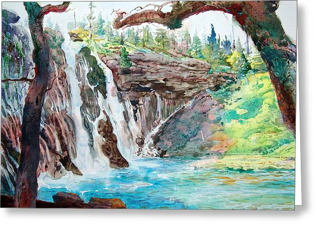 Burney Falls Greeting Card by John Norman Stewart