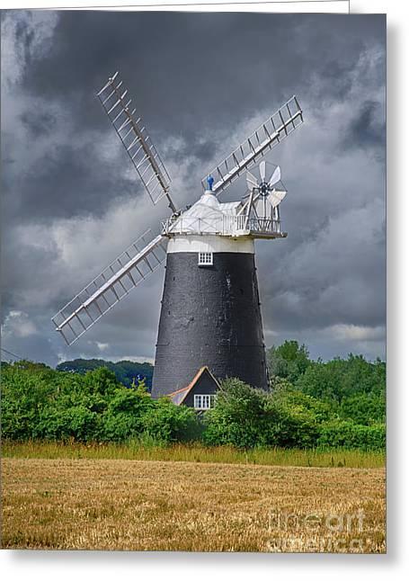 Burnham Overy Mill Greeting Card by Steev Stamford