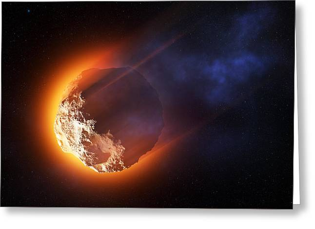 Burning Asteroid Entering The Atmoshere Greeting Card by Johan Swanepoel