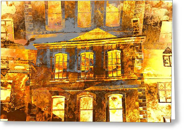 Burning Buildings Greeting Card by Tom Gowanlock