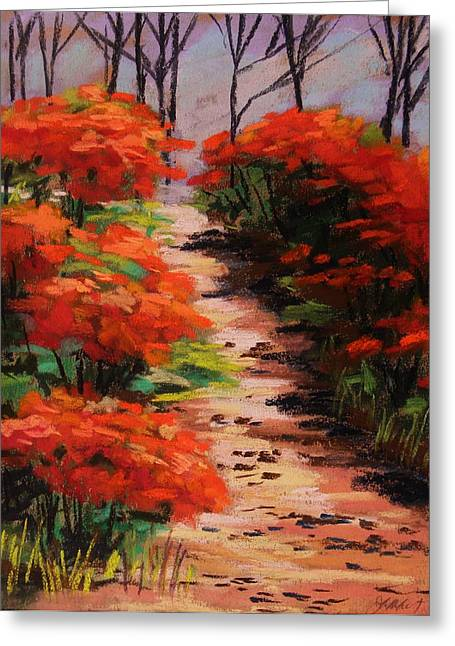 Burning Pastels Greeting Cards - Burning Bush Along the Lane Greeting Card by John  Williams