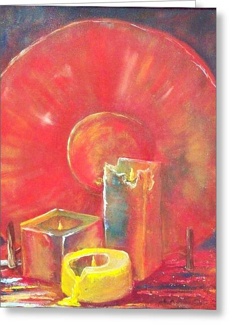 Burning Candles Greeting Card by Lynda McDonald