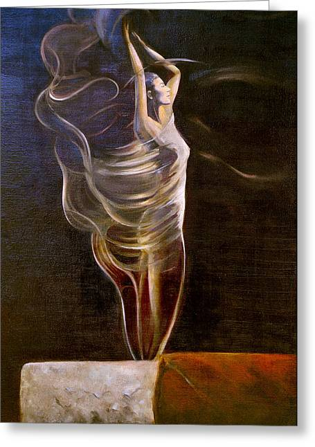 Cigar Paintings Greeting Cards - Burning Desire Greeting Card by Barry Shereshevsky
